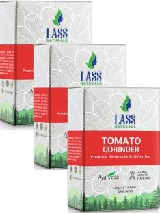 Lass Naturals Tomato & Coriander Soap Premium Handmade Bathing Bar 125 GM Pack of 3