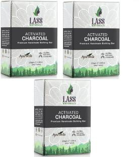 Lass Naturals Activated Charcoal Premium Handmade Bathing Bar Soap With Pure Essential Oils, 125 GM (Pack of 3)