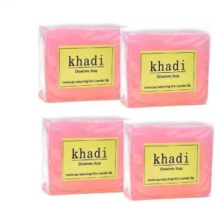 Khadi Strawberry Soap, 125 GM (Pack of 4)