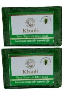 Khadi Pure Glycerine Khus Soap 125 GM Pack of 2