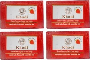 Khadi Strawberry Glycerine Soap, 125 GM (Pack of 4)