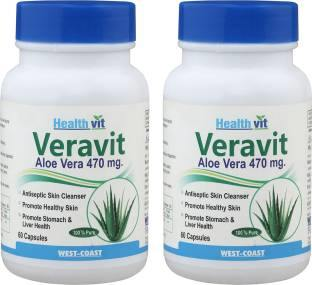 Healthvit Veravit Aloe Vera Powder 470 mg (60 Capsules, Pack of 2)