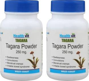 Healthvit Tagara Powder 250 mg Supplements (60 Capsules) - Pack Of 2