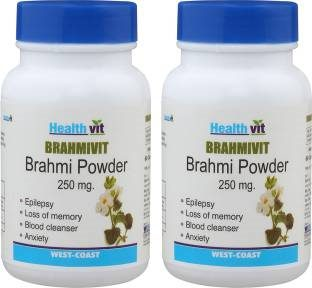 Healthvit Bramhivit Bramhi Powder 250mg (60 Capsules, Pack of 2)