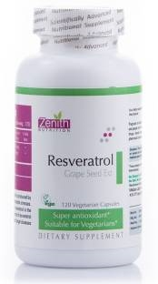 Zenith Nutrition Resveratrol 100 mg And Grape Seed Extract Supplements (120 Capsules)
