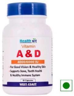 Healthvit Vitamin A&D 4000/6000 IU Supplements (60 Capsules)