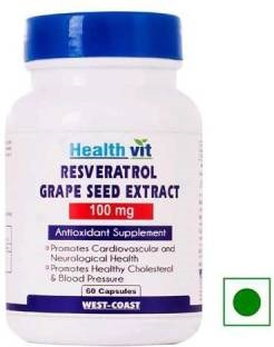 Healthvit Resveratrol 100 mg With Grape Seed Extract Supplement (60 Capsules)