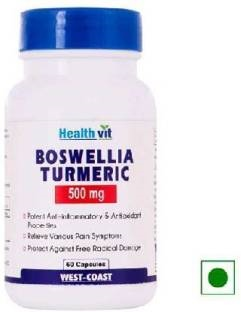Healthvit Boswellia Turmeric 500 mg Supplements (60 Capsules)