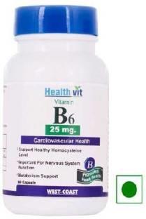 Healthvit Vitamin B6 25 mg Supplement (60 Capsules)