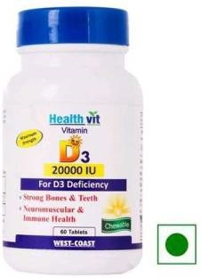 Healthvit Vitamin D3 20000 Iu Supplements (60 Capsules)