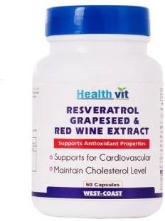 Healthvit Resveratol Grapeseed & Red Wine Extract Supplement (60 Capsules)