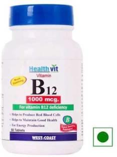 Healthvit Vitamin B12 1000 mcg Supplements (60 Capsules)