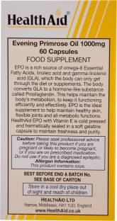 Health Aid Evening Primrose Oil 1000mg With Vitamin-E Supplements (60 Capsules)