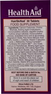 Health Aid HairSkiNail Supplements (30 Veg Tablets)