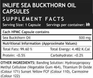 Inlife Seabuckthorn Seed Oil 500 mg Anti Aging Omega 7 (30 Capsules)