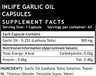 Inlife Natural Garlic Oil Health Supplement 500 mg (60 Capsules)