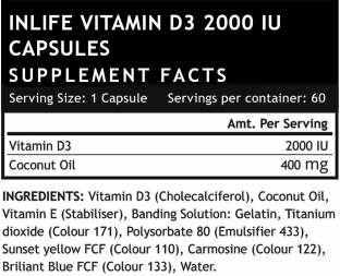 Inlife Vitamin D3 2000 IU (60 Capsules)