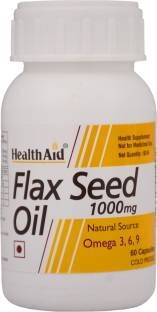 Health Aid Flax Seed Oil 1000mg - Omega 369 Supplements (60 Capsules)