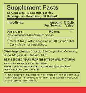 Bhumija Lifesciences Aloevera 500mg Supplements (60 Capsules, Pack of 5)