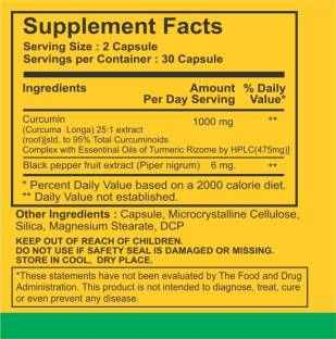 Bhumija Lifesciences Curcumin 95 Supplements (30 Capsules, Pack of 5)