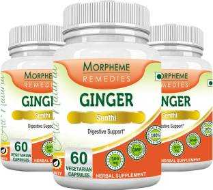 Morpheme Remedies Ginger Sunthi 500 mg Supplements (60 Capsules, Pack of 3)