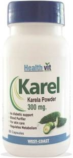 Healthvit Karel Karela Powder 300 mg Supplements (60 Capsules)