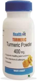 Healthvit Turmeric Powder 400mg Supplements (60 Capsules)