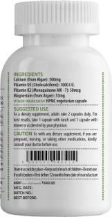 Unived CalDveg Algal Calcium Algal Magnesium Vitamin D3 & K2-7 Complete Bone Health (60 Capsules)