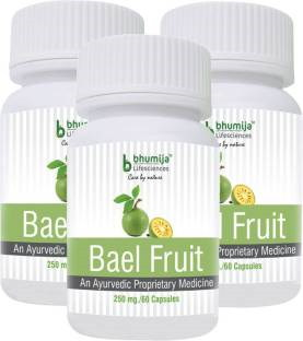 Bhumija Lifesciences Bael Fruit 250mg Supplement (60 Capsules) - Pack Of 3