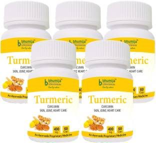 Bhumija Lifesciences Turmeric 400mg Supplements (60 Capsules) - Pack Of 5