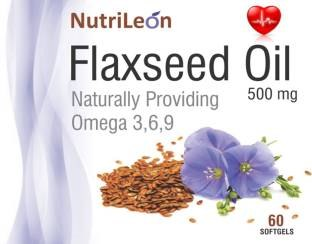 NutriLeon Flaxseed Oil 500mg Supplement (60 Capsules)