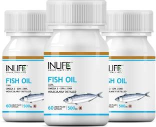 Inlife Omega 3 Fish Oil 500 mg (60 Capsules) - Pack Of 3