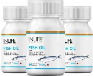 Inlife Omega 3 Fish Oil 500 mg (60 Capsules, Pack of 3)