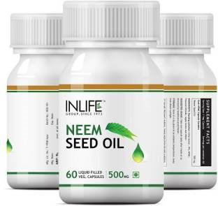 Inlife Neem Seed Oil 500mg Supplement (60 Capsules) - Pack Of 3