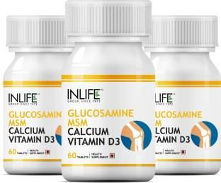 Inlife Glucosamine Sulphate Msm Calcium Vitamin D3 Supplement (60 Capsules) - Pack Of 3
