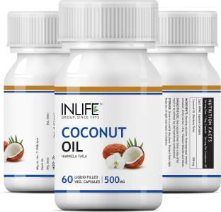 Inlife Coconut Oil 500mg Supplement (60 Capsules) - Pack Of 3