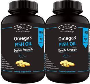 Sinew Nutrition Omega 3 Fish Oil 1000mg Supplement (60 Softgels, Pack of 2)