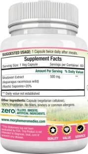 Morpheme Remedies Shatavari 500 mg Extract Supplements (60 Capsules, Pack of 3)