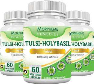 Morpheme Remedies Tulsi Holy Basil 500 mg Supplements (60 Capsules, Pack of 3)