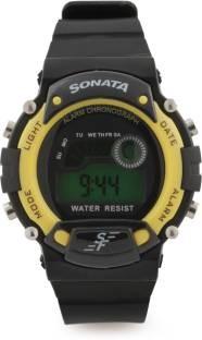 Sonata NG7982PP01J Round Dial Black Synthetic Strap Quartz Men's Watch (NG7982PP01J)