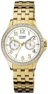 Citizen ED8112-52A Analog Sor Golden White Dial Women's Watch