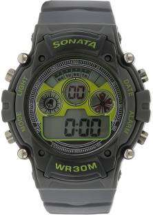 Sonata NH77006PP02J Digital Grey Dial Men's Watch