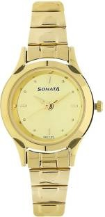 Sonata 8098YM02C Analog Champagne Dial Women's Watch (8098YM02C)