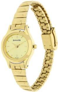 Sonata 8098YM02C Analog Champagne Dial Women's Watch