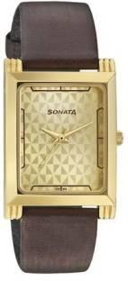 Sonata 77036YL02CJ Analog Gold Dial Men's Watch
