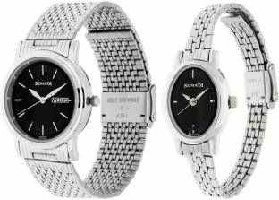 Sonata 11418100SM01 Analog Black Dial Wedding Couple Watch (11418100SM01)