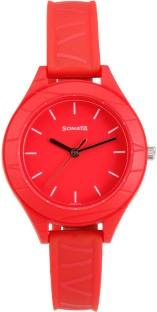 Sonata 87023PP01 Color Pop Analog Red Dial Girls Watch