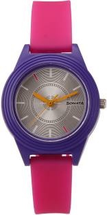 Sonata 87024PP02 Color Pop Analog Silver Dial Girls Watch
