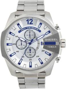 Diesel DZ4477I White & Silver- Toned Chronograph Watch For Men (DZ4477I)