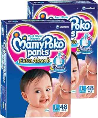 Mamy Poko Extra Absorb Pant Style L Diapers (48 Pieces) - Pack Of 2